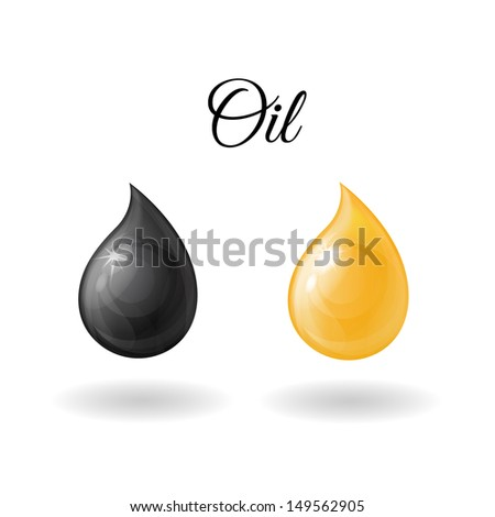 isolated realistic yellow and black drop, drop of oil on a white background - stock vector