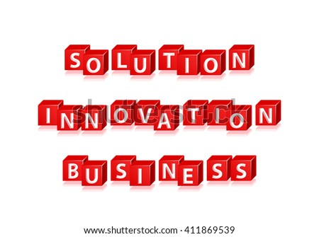 "Isolated Red  Block  Words "" Solution, Innovation and Business "" on White Background. Vector Illustration. - stock vector"