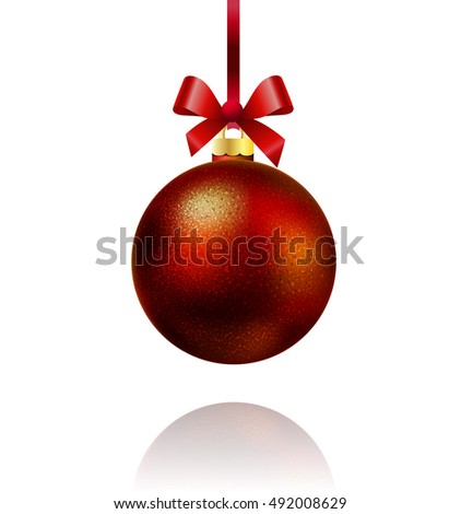 Isolated red Christmas ball hanging on a ribbon