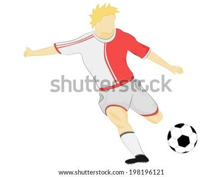 isolated red dress soccer player shooting vector illustration - stock vector
