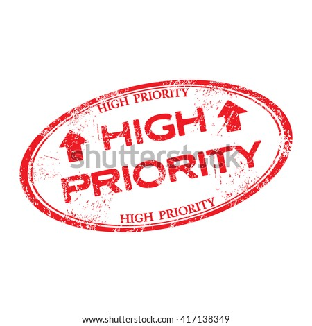 Isolated red grunge rubber stamp with the text high priority written inside the stamp