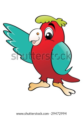 isolated red parrot with background - stock vector