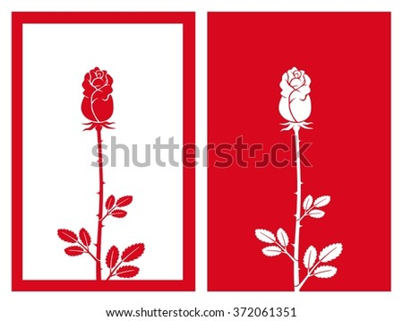 isolated red rose bud,vector illustration - stock vector