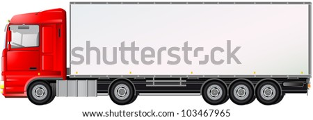 isolated red truck on white background with space for text - stock vector