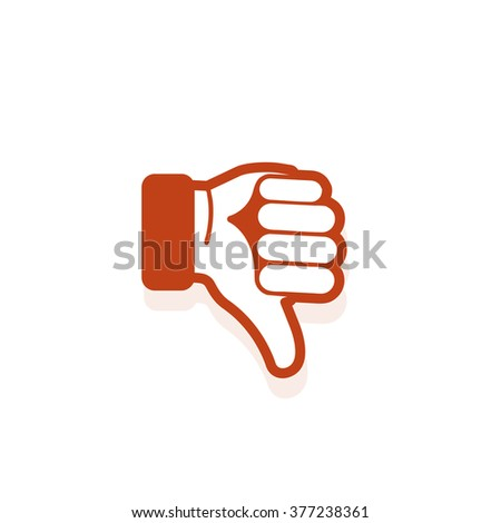 Isolated red vector gesture logo. Dislike icon. Disapproval sign. Thumb down image. Roman symbol. Estimation element. Pantomime logotype. Sign language label. Bad mark emblem. Graphic hand. - stock vector
