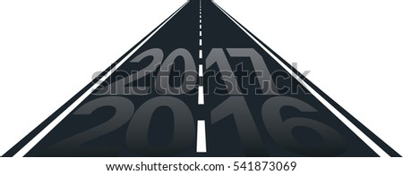 isolated road with inscription of 2017 year
