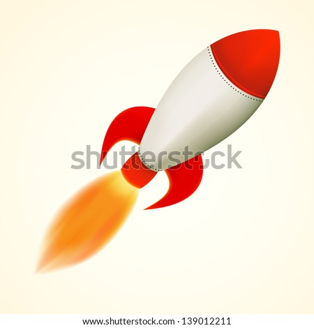 Isolated rocket, flying with flame, vector illustration - stock vector