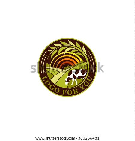 Isolated round agricultural vector logo. Farm icon. Dairy products symbol.. Fresh meat sign. Green meadow illistration. Nature image. Organic products. Eco label. Rural landscape. - stock vector