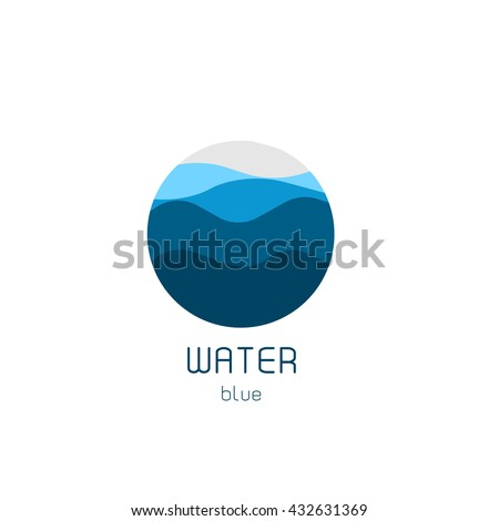 Isolated round shape logo. Blue color logotype. Flowing water image. Sea, ocean, river surface. - stock vector