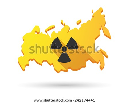 Isolated Russia map long shadow icon with a radio activity sign - stock vector