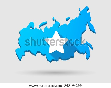 Isolated Russia map long shadow icon with a star