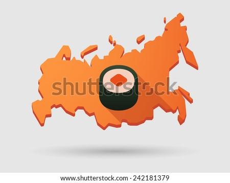 Isolated Russia map long shadow icon with a sushi