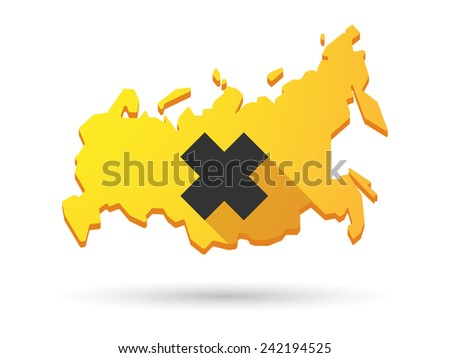 Isolated Russia map long shadow icon with an irritating substance sign - stock vector