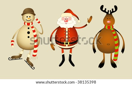 Isolated Santa Claus, snowman, reindeer.