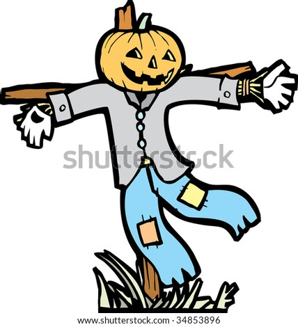 Isolated scarecrow image for Halloween spot images.
