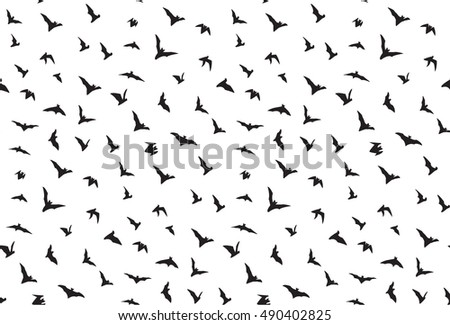 Isolated seamless flying bats pattern on white
