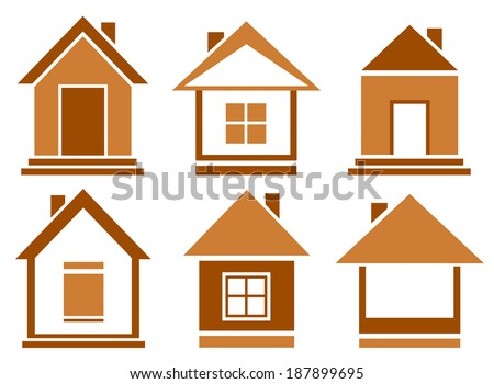 isolated set brown house icons on white background - stock vector