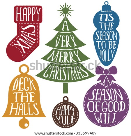 isolated set of christmas ornaments with seasonal lettering decoration - stock vector