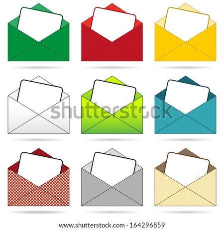 Isolated set of 9 envelopes in differenet colors - stock vector