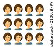 Isolated set of female avatar expressions - stock vector