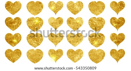 Isolated set of gold hearts on white background. Romantic icons golden glittering. Vector illustration. Valentines day and holiday collection.