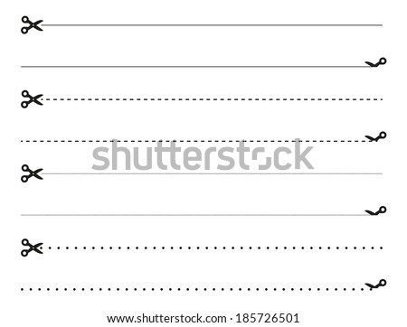 Isolated set of scissors cutting the paper by the different lines - stock vector