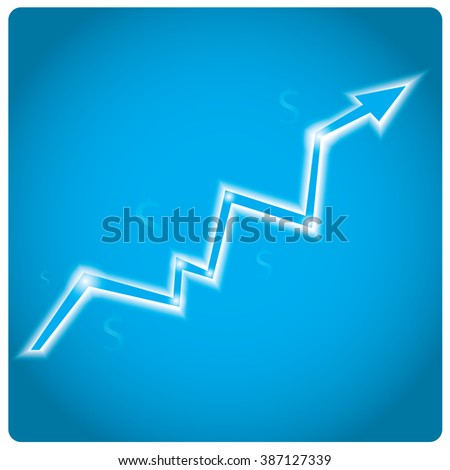 Isolated shiny graph with an arrow on a blue background - stock vector