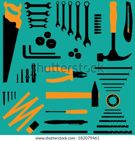 Isolated silhouette illustration of tools - stock vector