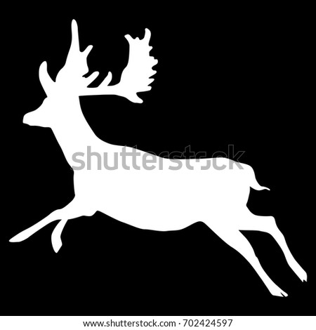 isolated silhouette of a running deer white on black