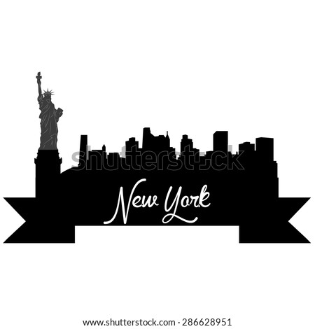 Isolated silhouette of a skyline of New York and its monuments. Vector illustration