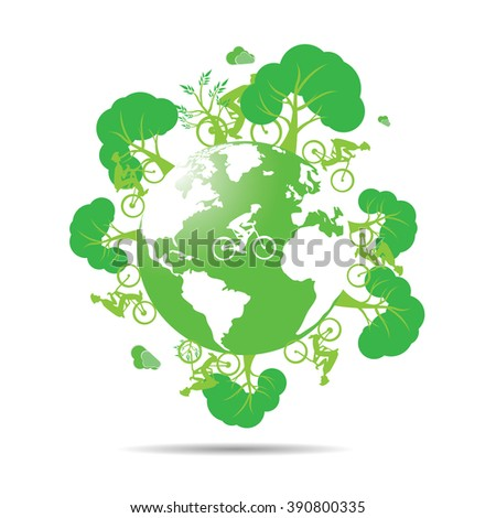 Isolated silhouette of our planet with trees and people riding bicycles on a white background