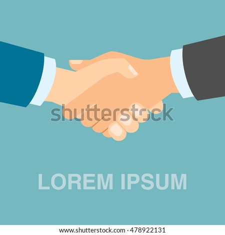 Isolated simple handshake icon with filler text lorem ipsum. Concept of agreement, teamwork, congratulation and more.