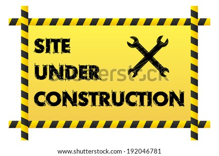 Isolated Site under construction banner with two crossed wrenches