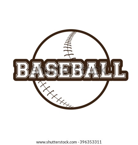 Isolated sketch of a baseball ball and text on a white background