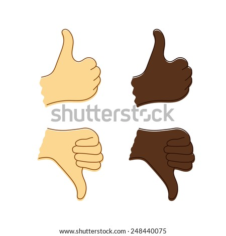 Isolated sketch of Caucasian and Afro-American hands with thumb up and thumb down. Vector icon of like or dislike. - stock vector