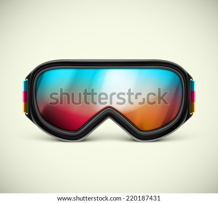 Isolated ski goggles, eps 10 - stock vector