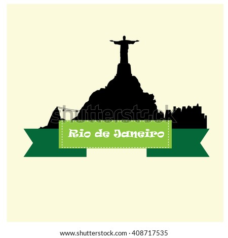 Isolated skyline of Rio de Janeiro with a ribbon with text on a white background - stock vector