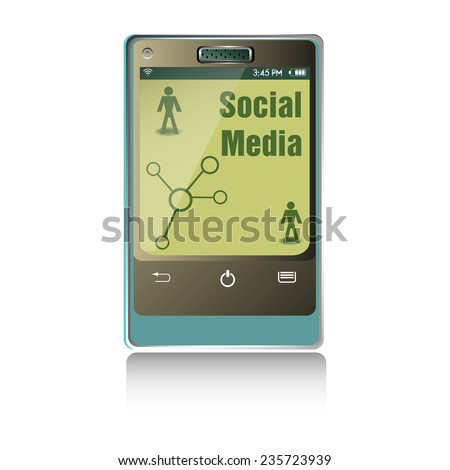 Isolated smartphone with the text social media written on its screen - stock vector