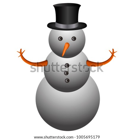 Isolated snowman emoji on a white background, Vector illustration