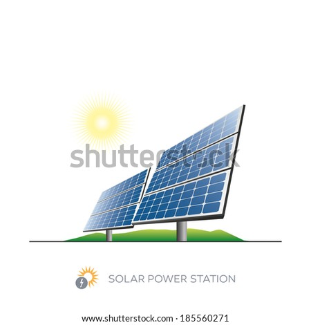 Isolated solar power station icon with sun on white background  - stock vector