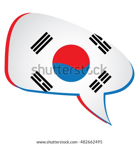 Isolated south korean flag on a bubble chat, Vector illustration