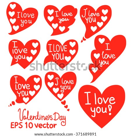 Isolated speech bubbles in the form of hearts. Card red elements of love Valentine's Day.I love you.Vector EPS 10.