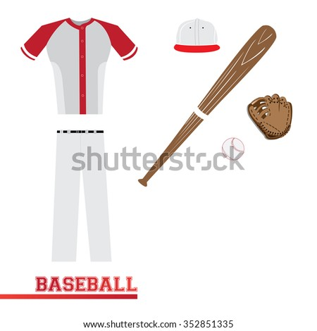 Isolated sport uniform and some baseball elements