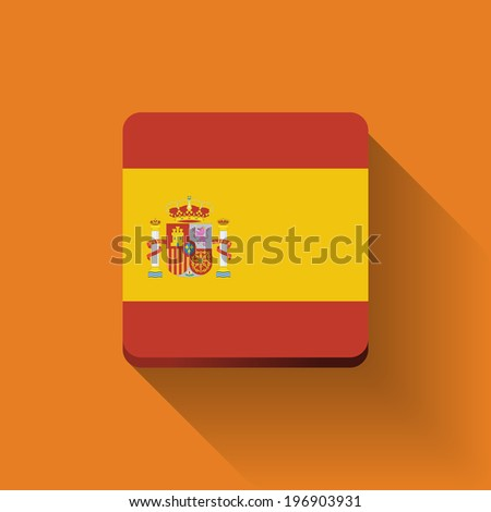 Isolated square button with national flag of Spain. Flat design. - stock vector