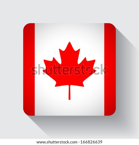 Isolated square web button with national flag of Canada - stock vector