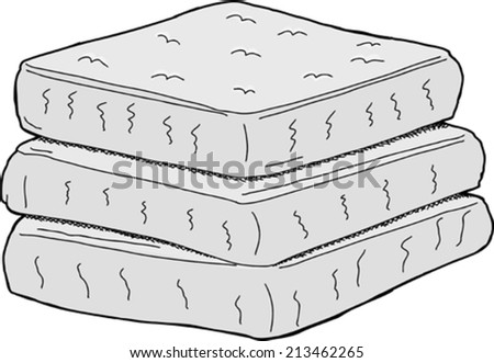 Isolated stack of cartoon mattresses on white background - stock vector