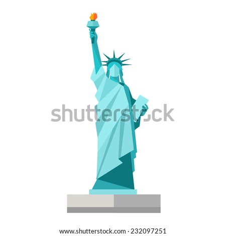 Isolated statue of liberty on white background. Flat style. Vector illustration - stock vector