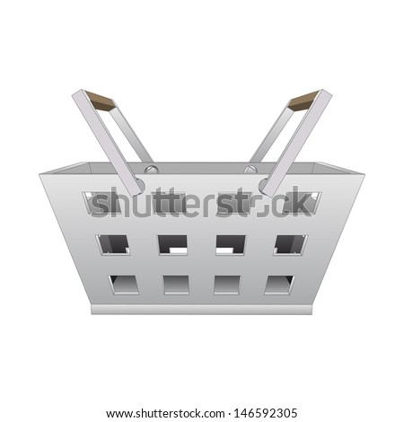 isolated steel hand basket vector drawing illustration - stock vector