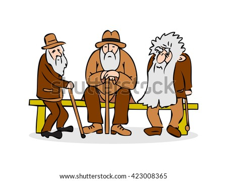 Isolated stick hat bench brown sitting adult vector caricature male character grandfather sad outside old drawing elder hunched portrait beard funny elderly support illustration over three pension  - stock vector