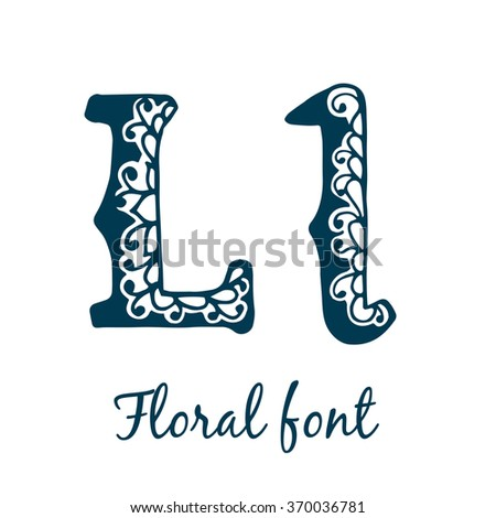 Isolated stylized calligraphic alphabet. Floral font. Vector illustration